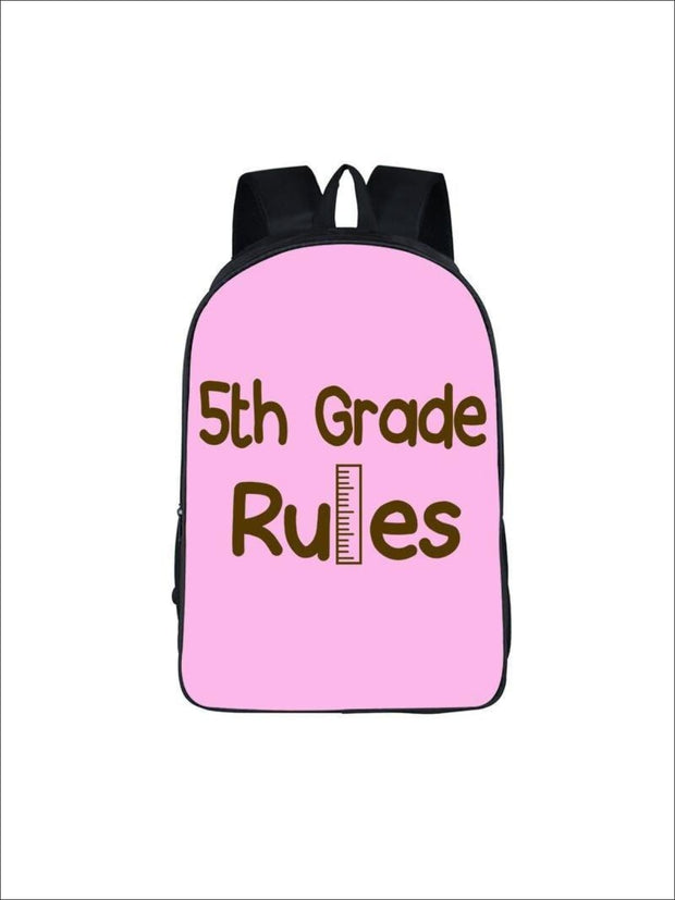 Girls 16.5 5th Grade Rules Backpack ( 5 colors) - Pink / 16.5 in - Girls Backpack