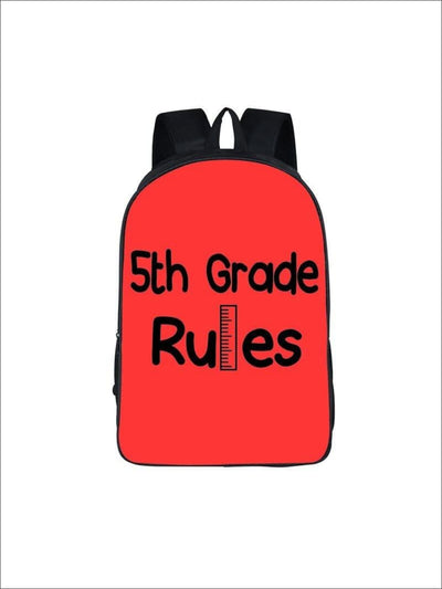 Girls 16.5 5th Grade Rules Backpack ( 5 colors) - Red / 16.5 in - Girls Backpack