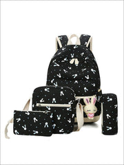 Girls 16.5 Bunny Print Backpack 4pc set - black - Girls Backpacks