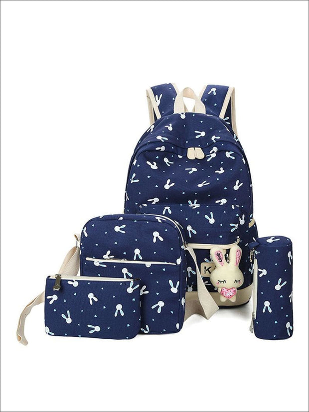 Girls 16.5 Bunny Print Backpack 4pc set - blue - Girls Backpacks