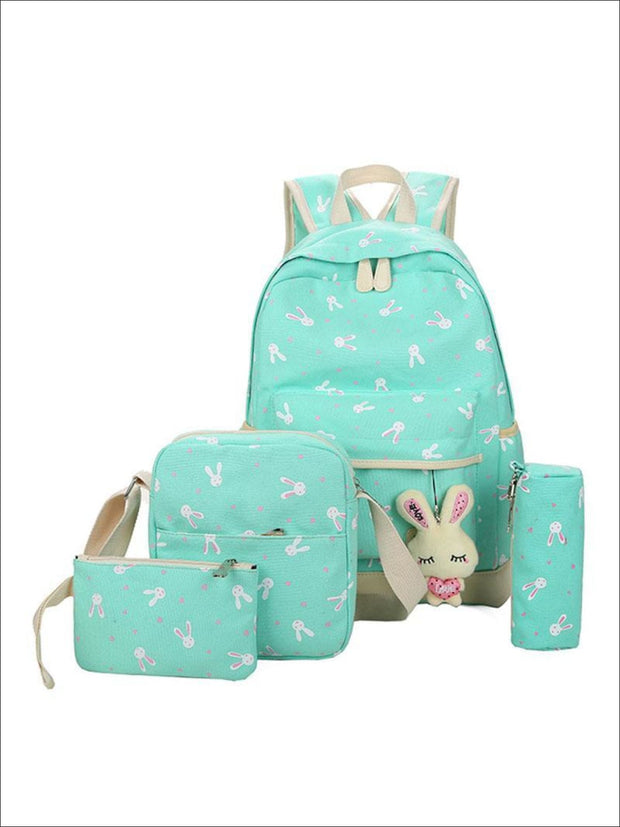 Girls 16.5 Bunny Print Backpack 4pc set - green - Girls Backpacks