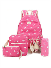 Girls 16.5 Bunny Print Backpack 4pc set - pink - Girls Backpacks