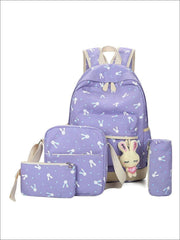 Girls 16.5 Bunny Print Backpack 4pc set - purple - Girls Backpacks