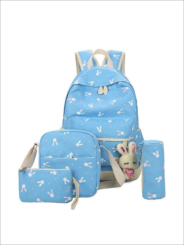 Girls 16.5 Bunny Print Backpack 4pc set - sky blue - Girls Backpacks