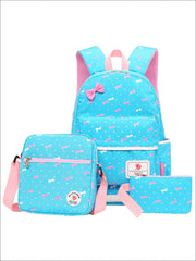 Girls 16.5 Dotted Bow Print 3pc Backpack Set - Blue - Girls Backpack