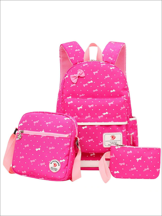 Girls 16.5 Dotted Bow Print 3pc Backpack Set - Hot Pink - Girls Backpack