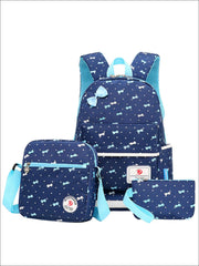 Girls 16.5 Dotted Bow Print 3pc Backpack Set - Navy - Girls Backpack