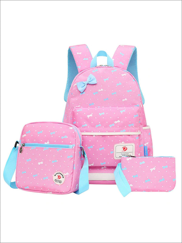 Girls 16.5 Dotted Bow Print 3pc Backpack Set - Pink - Girls Backpack