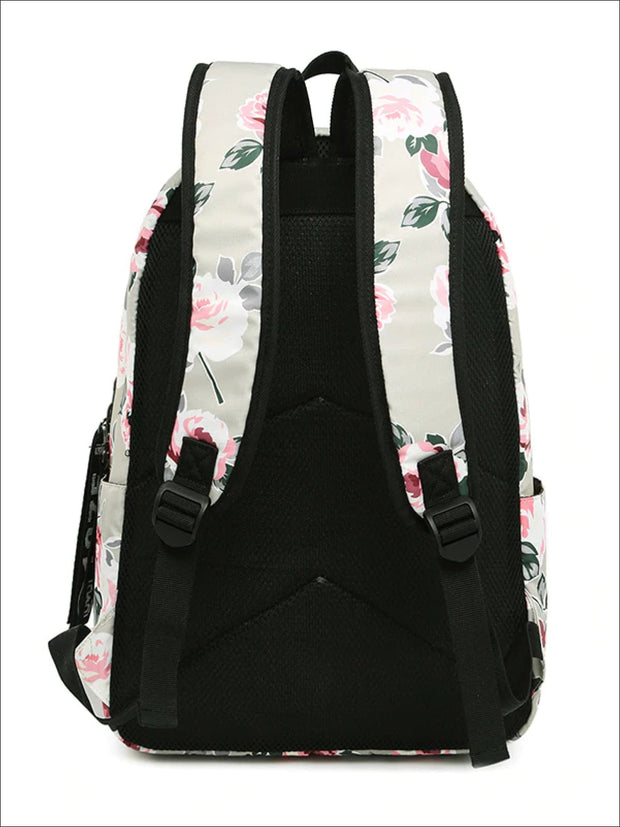 Girls 16.5 Floral Print Water Resistant Nylon Backpack - Girls Backpacks