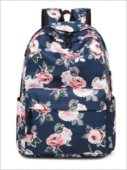 Girls 16.5 Floral Print Water Resistant Nylon Backpack - Blue - Girls Backpacks