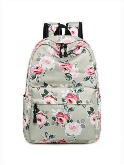 Girls 16.5 Floral Print Water Resistant Nylon Backpack - Gray - Girls Backpacks