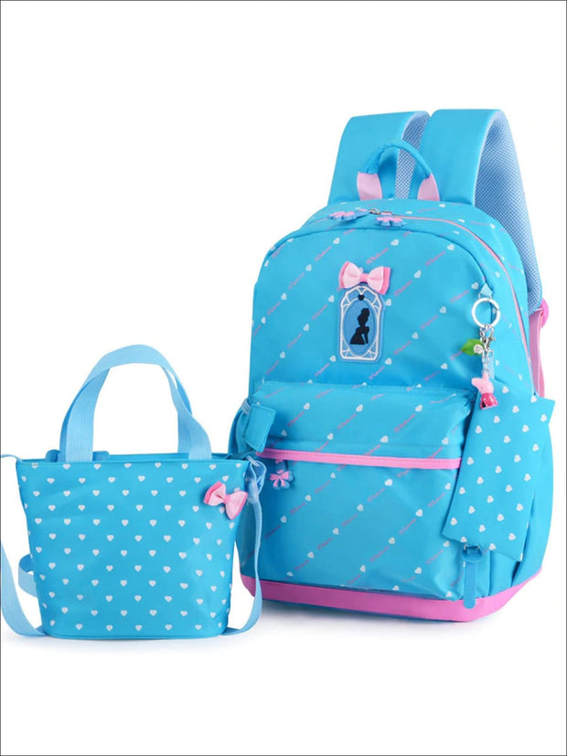 Girls 16.5 Heart Print Backpack with Matching Lunch Box - Blue - Girls Backpack