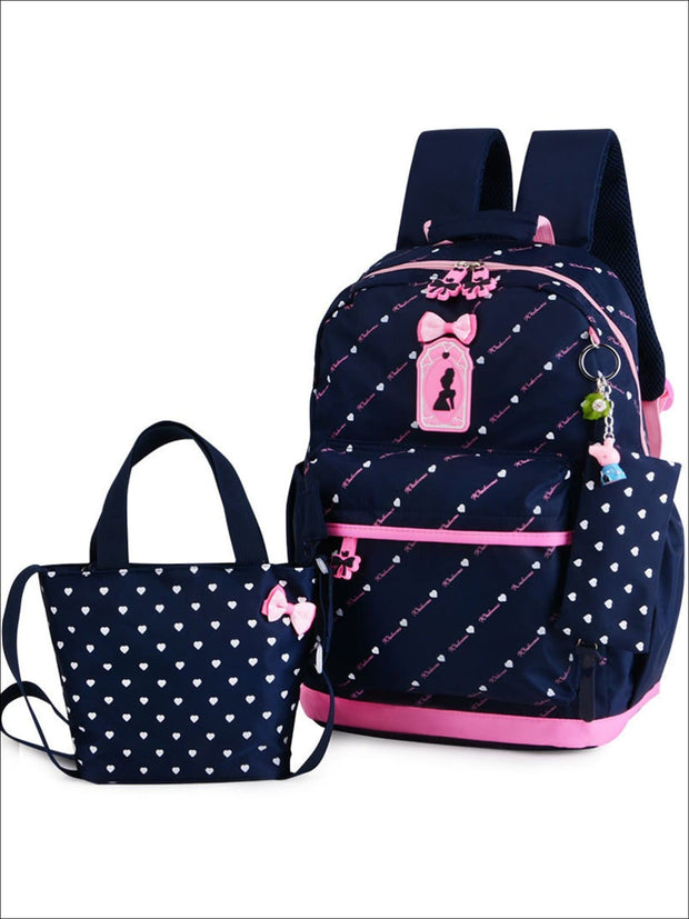 Girls 16.5 Heart Print Backpack with Matching Lunch Box - Navy - Girls Backpack