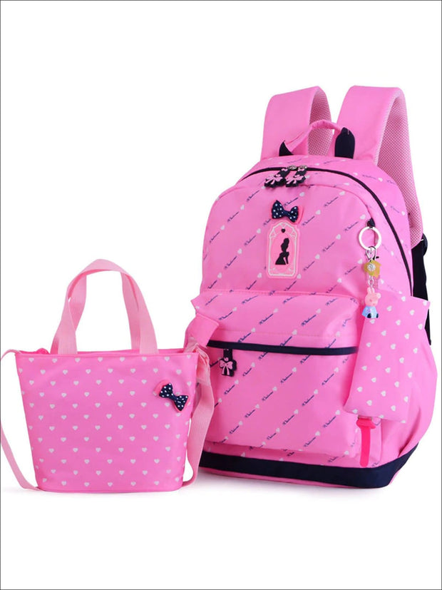 Girls 16.5 Heart Print Backpack with Matching Lunch Box - Pink - Girls Backpack
