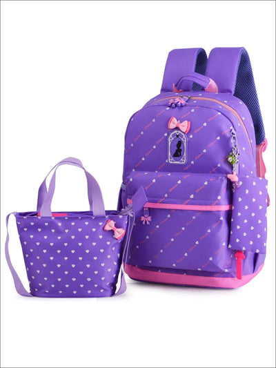 Girls 16.5 Heart Print Backpack with Matching Lunch Box - Purple - Girls Backpack