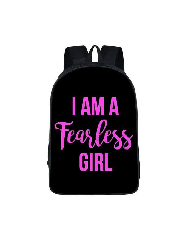 Girls 16.5 I am a fearless girl Backpack ( 5 colors) - Black / 16.5 in - Girls Backpack