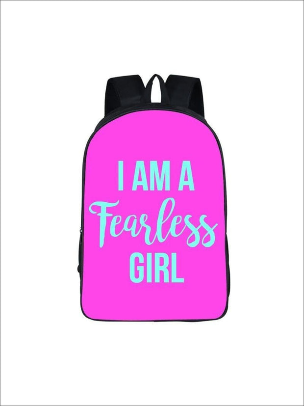 Girls 16.5 I am a fearless girl Backpack ( 5 colors) - Hot Pink / 16.5 in - Girls Backpack