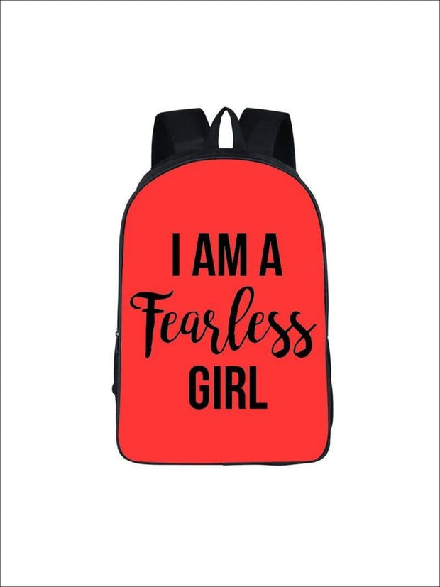 Girls 16.5 I am a fearless girl Backpack ( 5 colors) - Red / 16.5 in - Girls Backpack