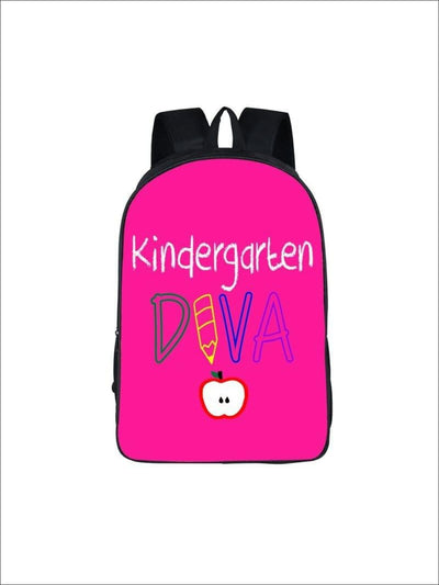 Girls 16.5 Kindergarten DIVA Backpack ( 2 colors) - Hot Pink / 16.5 in - Girls packback