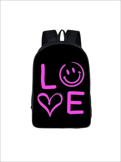 Girls 16.5 LOVE Backpack ( 5 colors) - Black / 16.5 in - Girls Backpack
