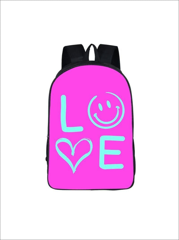 Girls 16.5 LOVE Backpack ( 5 colors) - Hot Pink / 16.5 in - Girls Backpack