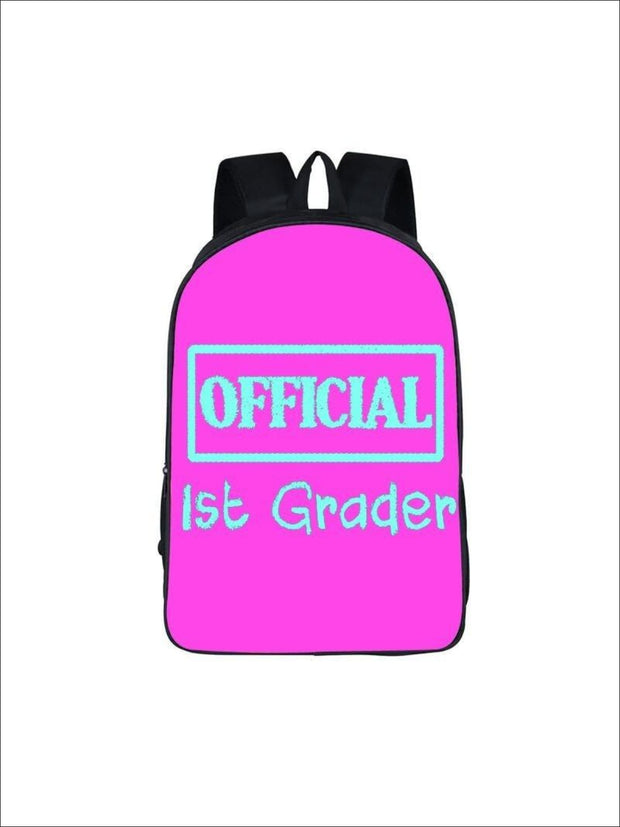 Girls 16.5 Official 1st Grader Backpack ( 5 colors) - Hot Pink / 16.5 in - Girls Backpack