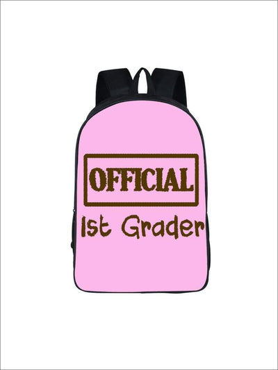 Girls 16.5 Official 1st Grader Backpack ( 5 colors) - Pink / 16.5 in - Girls Backpack