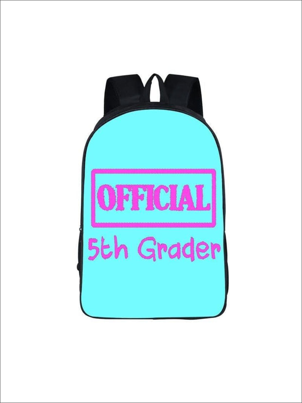 Girls 16.5 Official 5th Grader Custom Print Backpack ( 5 colors) - Aqua / 16.5 in - Girls Backpack
