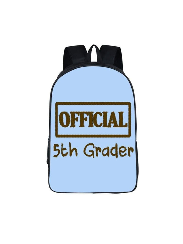 Girls 16.5 Official 5th Grader Custom Print Backpack ( 5 colors) - Blue / 16.5 in - Girls Backpack