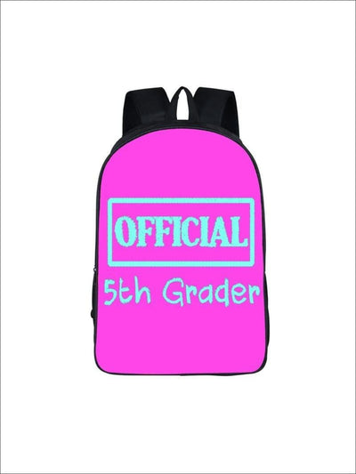 Girls 16.5 Official 5th Grader Custom Print Backpack ( 5 colors) - Hot Pink / 16.5 in - Girls Backpack