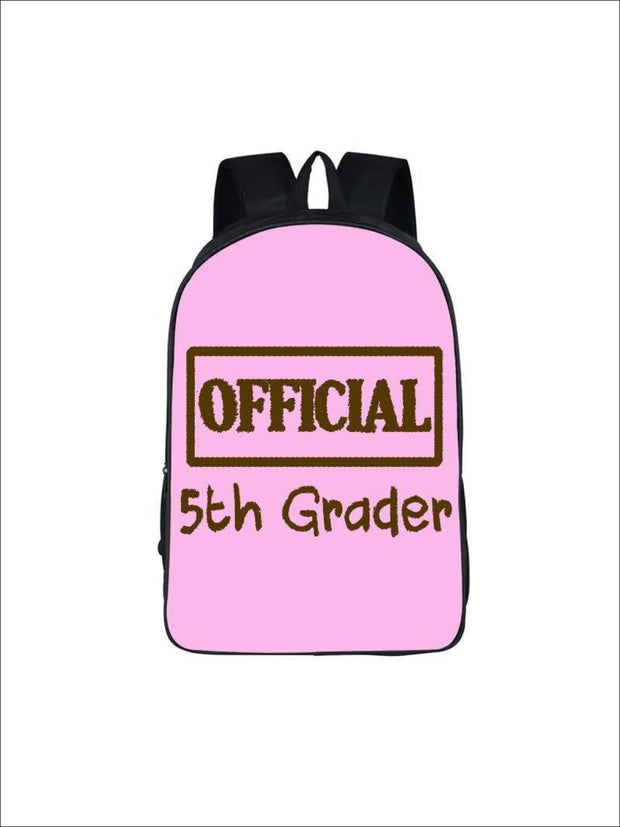 Girls 16.5 Official 5th Grader Custom Print Backpack ( 5 colors) - Pink / 16.5 in - Girls Backpack