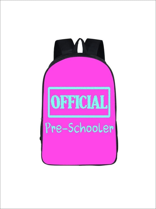 Girls 16.5 Official Pre-Scooler Backpack ( 5 colors) - Hot Pink / 16.5 in - Girls Backpack