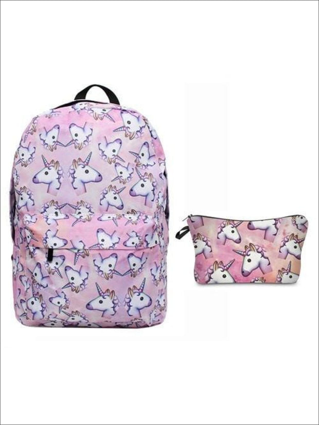 Girls 16.5 Pink Unicorn Backpack + Pencil Case - pink / 16.5 in - Unicorn Backpack