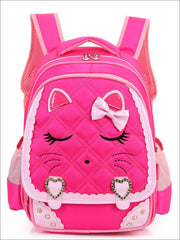 Girls 16.5 Quilted Cat Face Bow Applique Backpack - School Bags