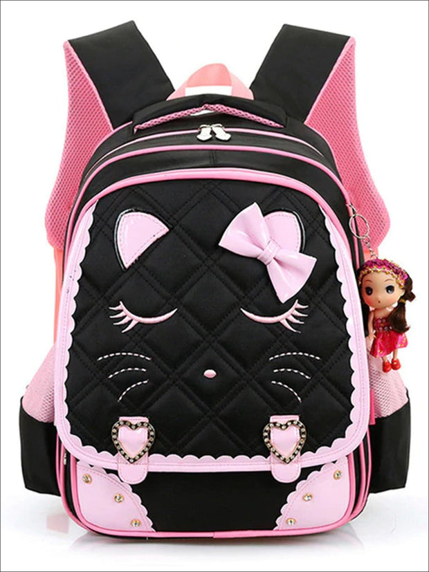 Girls 16.5 Quilted Cat Face Bow Applique Backpack - Black / 16.5 in - School Bags