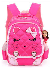 Girls 16.5 Quilted Cat Face Bow Applique Backpack - Hot Pink / 16.5 in - School Bags