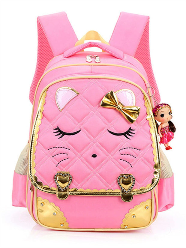 Girls 16.5 Quilted Cat Face Bow Applique Backpack - Pink / 16.5 in - School Bags