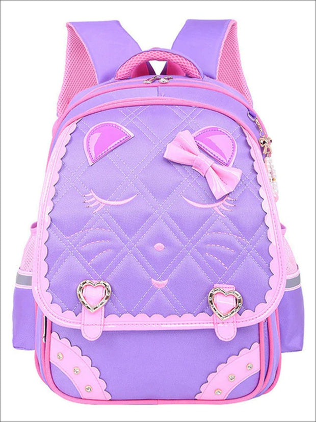 Girls 16.5 Quilted Cat Face Bow Applique Backpack - Purple / 16.5 in - School Bags