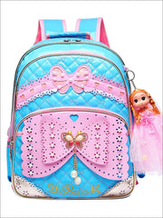 Girls 16.5 Quilted Waterproof Princess Backpack With Doll Key Chain & Matching Lunch Box - Blue / Backpack - Girls Backpack
