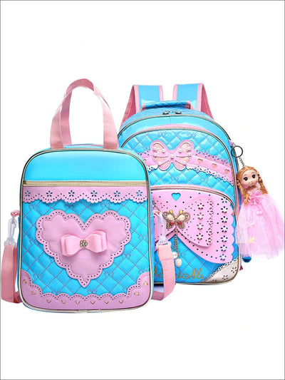 Girls 16.5 Quilted Waterproof Princess Backpack With Doll Key Chain & Matching Lunch Box - Blue / Backpack with Lunchbag - Girls Backpack
