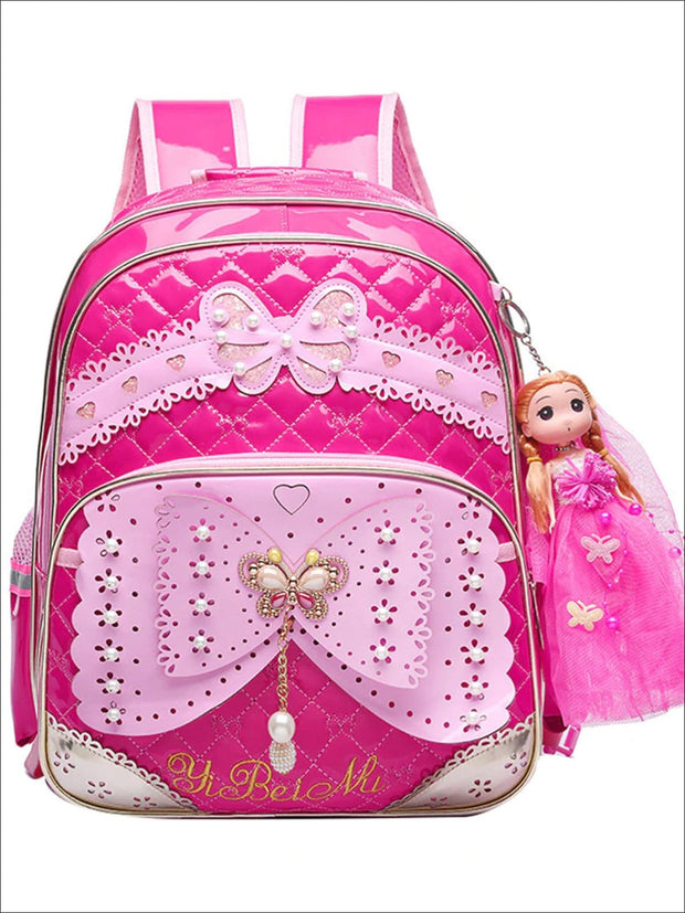 Girls 16.5 Quilted Waterproof Princess Backpack With Doll Key Chain & Matching Lunch Box - Hot Pink / Backpack - Girls Backpack