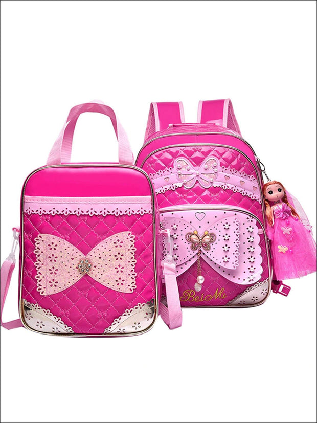 Girls 16.5 Quilted Waterproof Princess Backpack With Doll Key Chain & Matching Lunch Box - Hot Pink / Backpack with Lunchbag - Girls