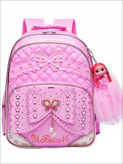 Girls 16.5 Quilted Waterproof Princess Backpack With Doll Key Chain & Matching Lunch Box - Pink / Backpack - Girls Backpack