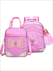 Girls 16.5 Quilted Waterproof Princess Backpack With Doll Key Chain & Matching Lunch Box - Pink / Backpack with Lunchbag - Girls Backpack