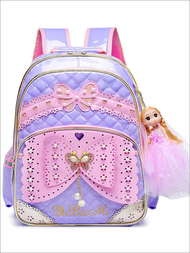 Girls 16.5 Quilted Waterproof Princess Backpack With Doll Key Chain & Matching Lunch Box - Purple / Backpack - Girls Backpack
