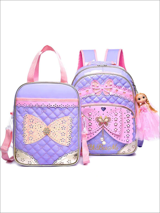 Girls 16.5 Quilted Waterproof Princess Backpack With Doll Key Chain & Matching Lunch Box - Purple / Backpack with Lunchbag - Girls Backpack