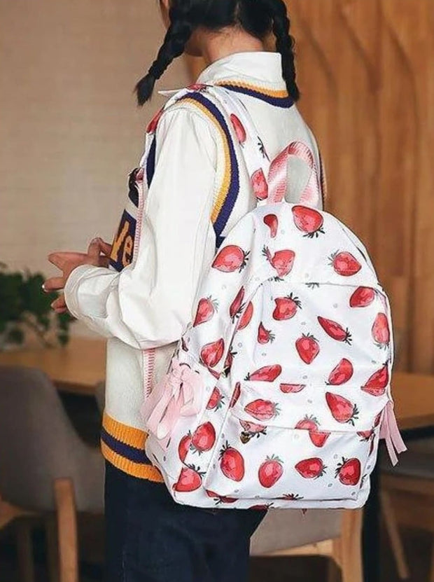 Girls 16.5 Strawberry & Flamingo Print Backpack ( 2 Style Options) - Girls Backpack