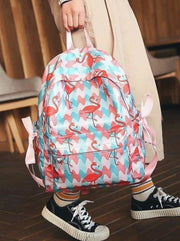 Girls 16.5 Strawberry & Flamingo Print Backpack ( 2 Style Options) - Multicolor - Girls Backpack