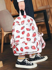 Girls 16.5 Strawberry & Flamingo Print Backpack ( 2 Style Options) - White - Girls Backpack