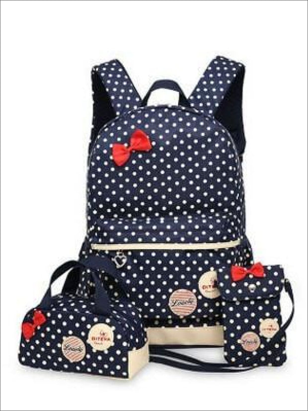 Girls 16.5 Waterproof Polkadot Bow Backpack +Pencil Case + Mobile Phone Bag Set 3pc Set (4 colors) - Navy - Girls Backpack